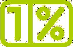 Zielony, zaokrąglony prostokąt z napisem 1 procent
